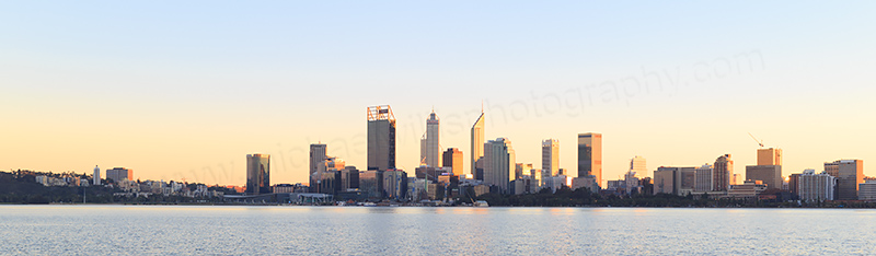 Perth and the Swan River at Sunrise, 19th June 2017