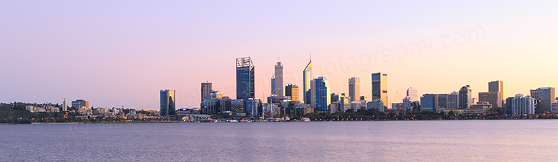 Perth and the Swan River at Sunrise, 24th June 2017