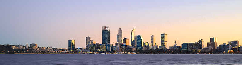 Perth and the Swan River at Sunrise, 29th June 2017