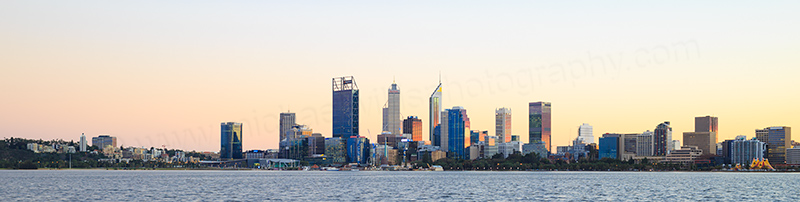 Perth and the Swan River at Sunrise, 30th June 2017