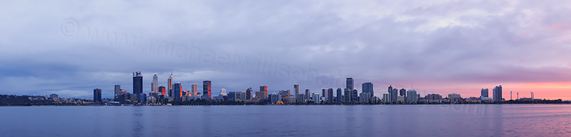 Perth and the Swan River at Sunrise, 3rd July 2017