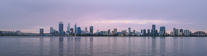 Perth and the Swan River at Sunrise, 4th July 2017