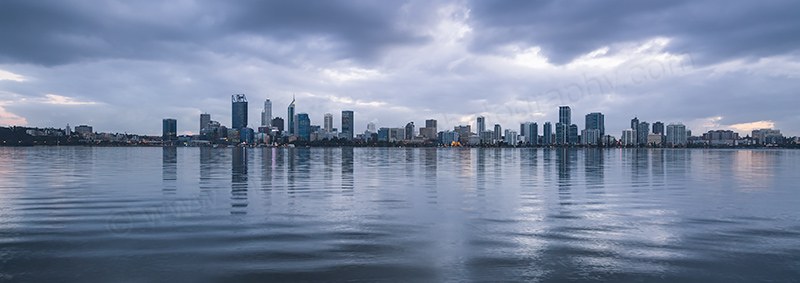 Perth and the Swan River at Sunrise, 13th July 2017
