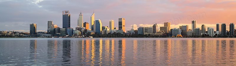 Perth and the Swan River at Sunrise, 17th July 2017