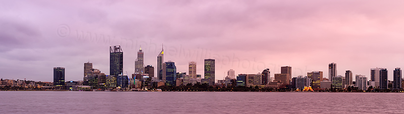 Perth and the Swan River at Sunrise, 19th July 2017