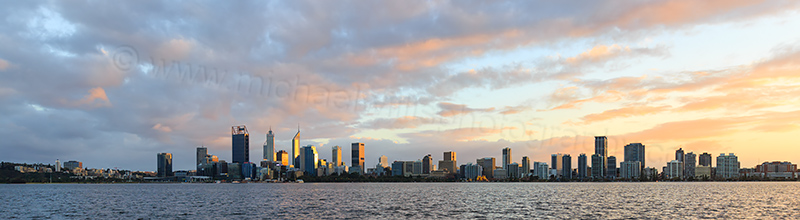 Perth and the Swan River at Sunrise, 21st July 2017