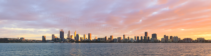 Perth and the Swan River at Sunrise, 27th July 2017