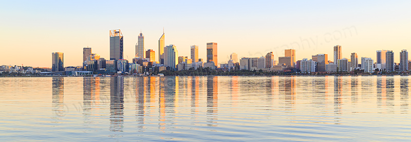 Perth and the Swan River at Sunrise, 2nd August 2017