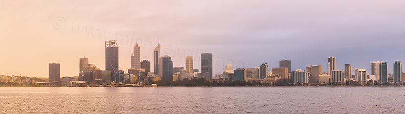 Perth and the Swan River at Sunrise, 3rd August 2017