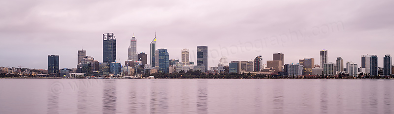 Perth and the Swan River at Sunrise, 4th August 2017
