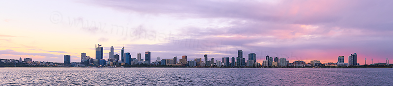 Perth and the Swan River at Sunrise, 8th August 2017