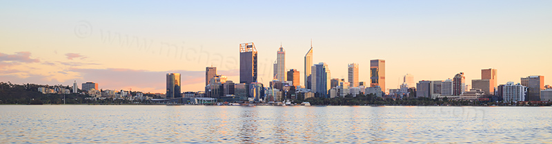 Perth and the Swan River at Sunrise, 18th August 2017