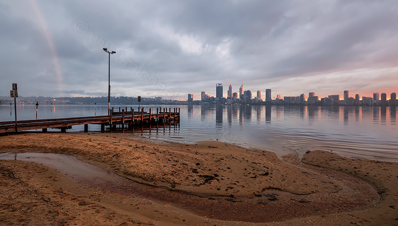 Perth and the Swan River at Sunrise, 22nd August 2017