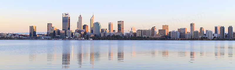Perth and the Swan River at Sunrise, 24th August 2017