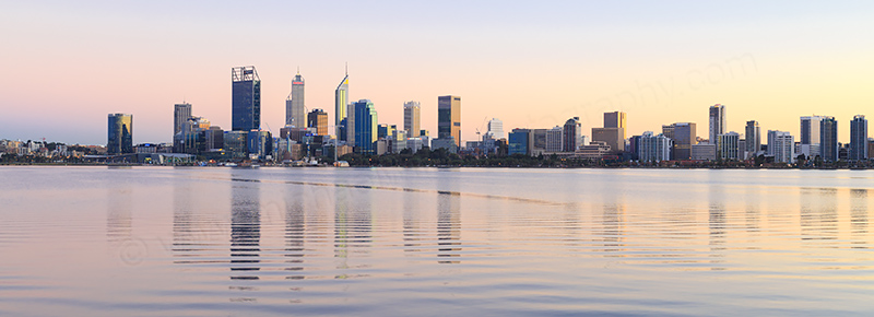 Perth and the Swan River at Sunrise, 25th August 2017