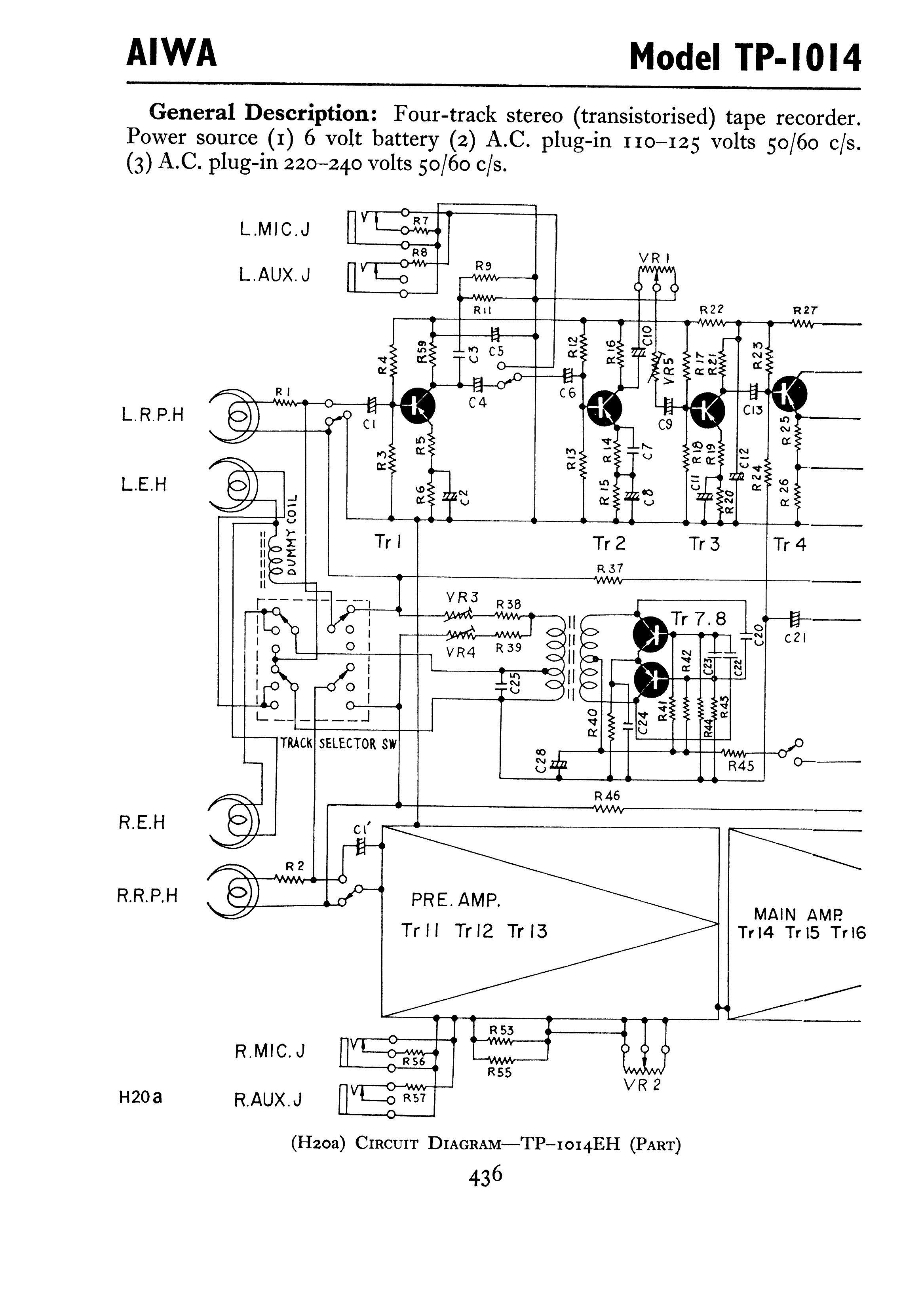 Antique Radio Forums • View topic - AIWA TP-1014 schematic ... on