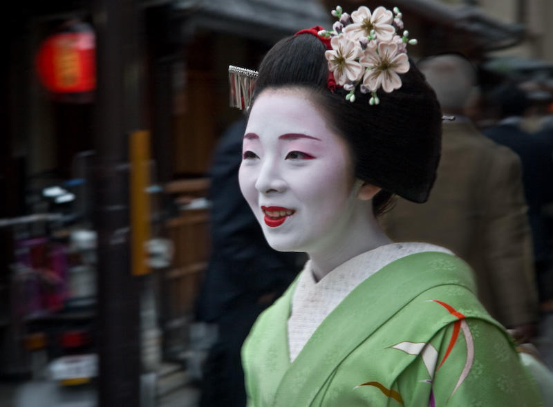 A Maiko (apprentice geisha) in the Gion District