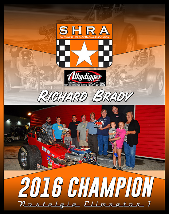 Richard Brady 2016 SHRA Champion Plaque