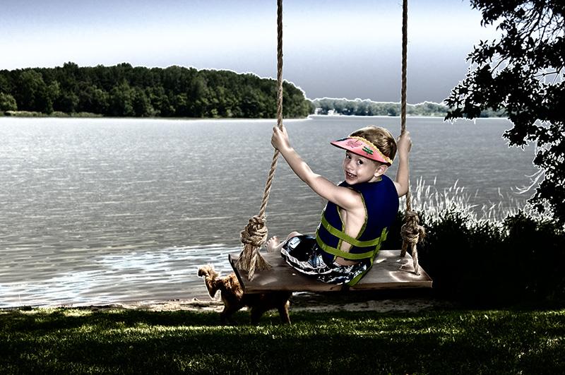 Ryan on lakeside swing