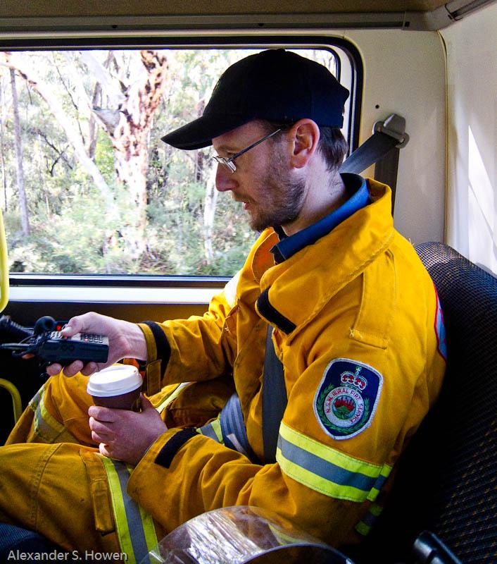 Nick adjusts a fireground radio
