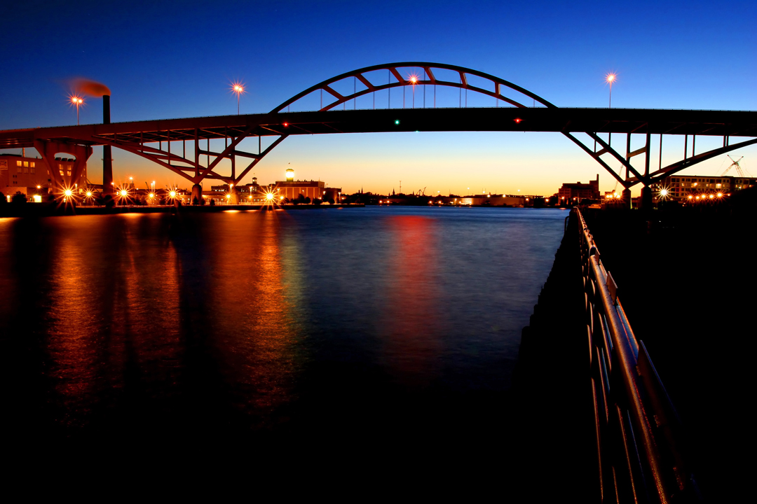 Hoan Bridge at Sunset
