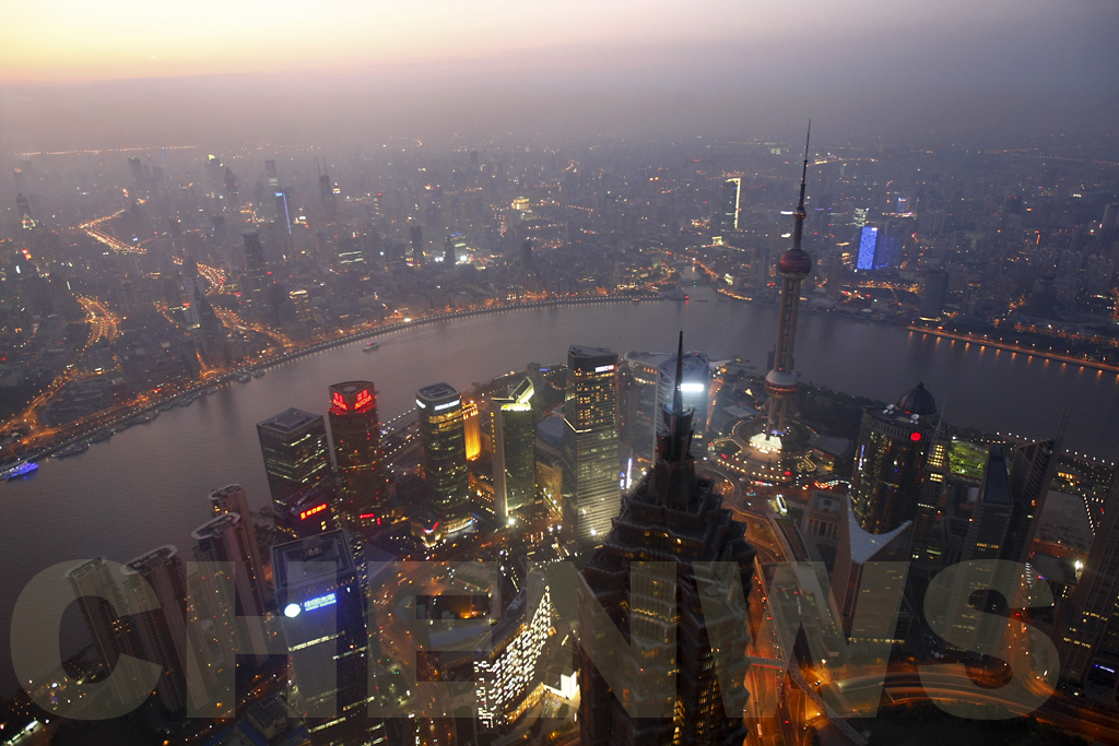 Shanghai at sunset as viewed from the Shanghai World Financial Centre Skywalk 100