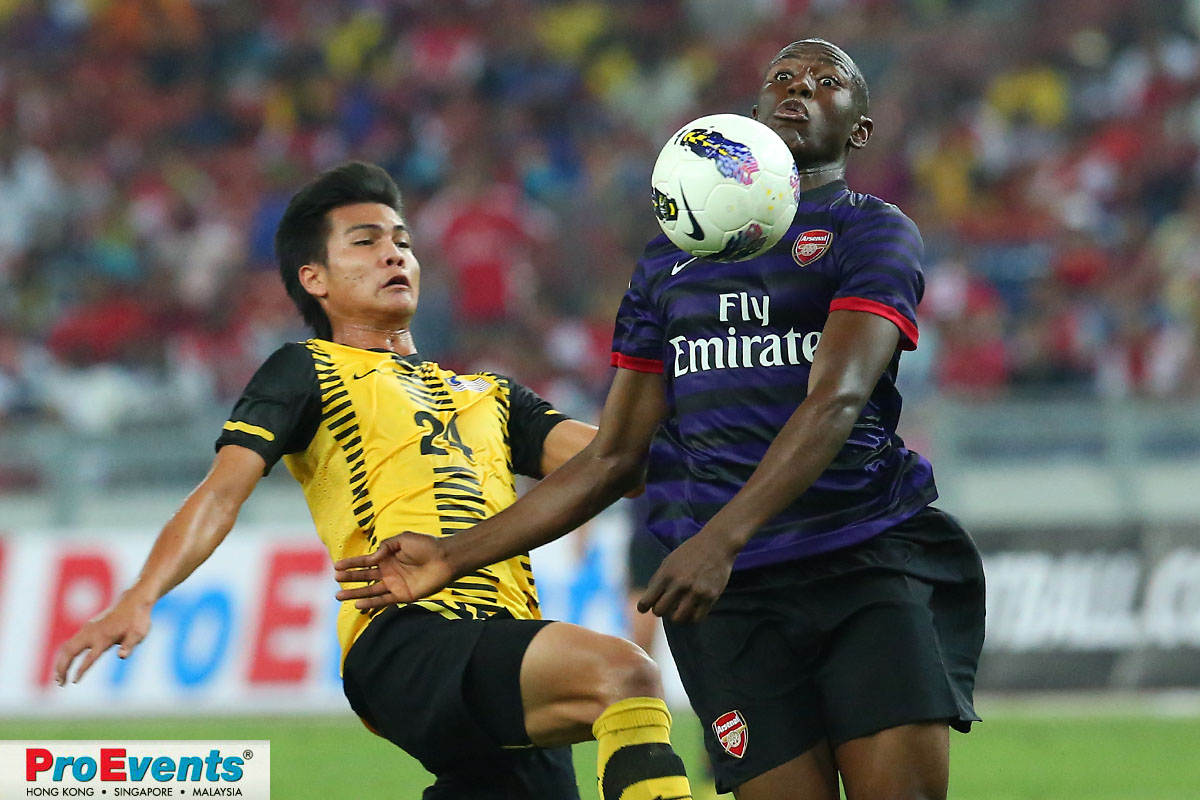 Benik Afobe chests down the ball