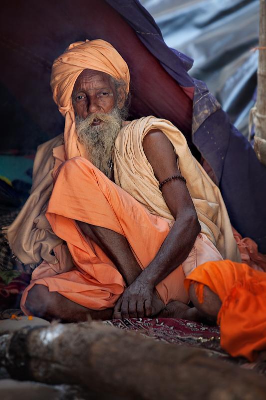 Relaxing in his tent