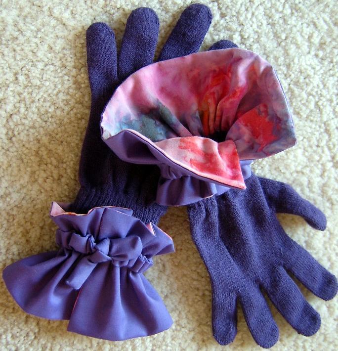 Purple/Batik-Faced Glove Cuffs