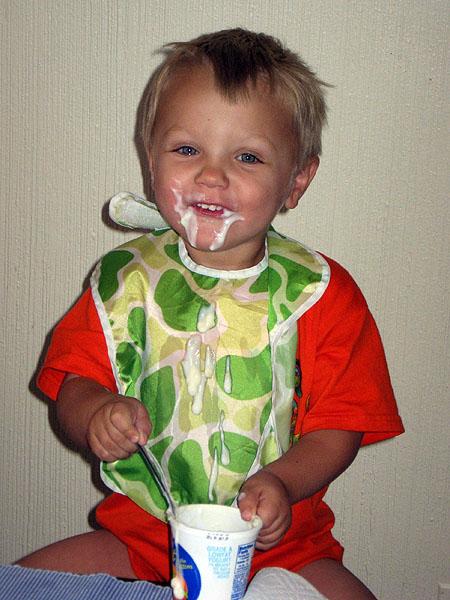 Simon tries a full-size spoon
