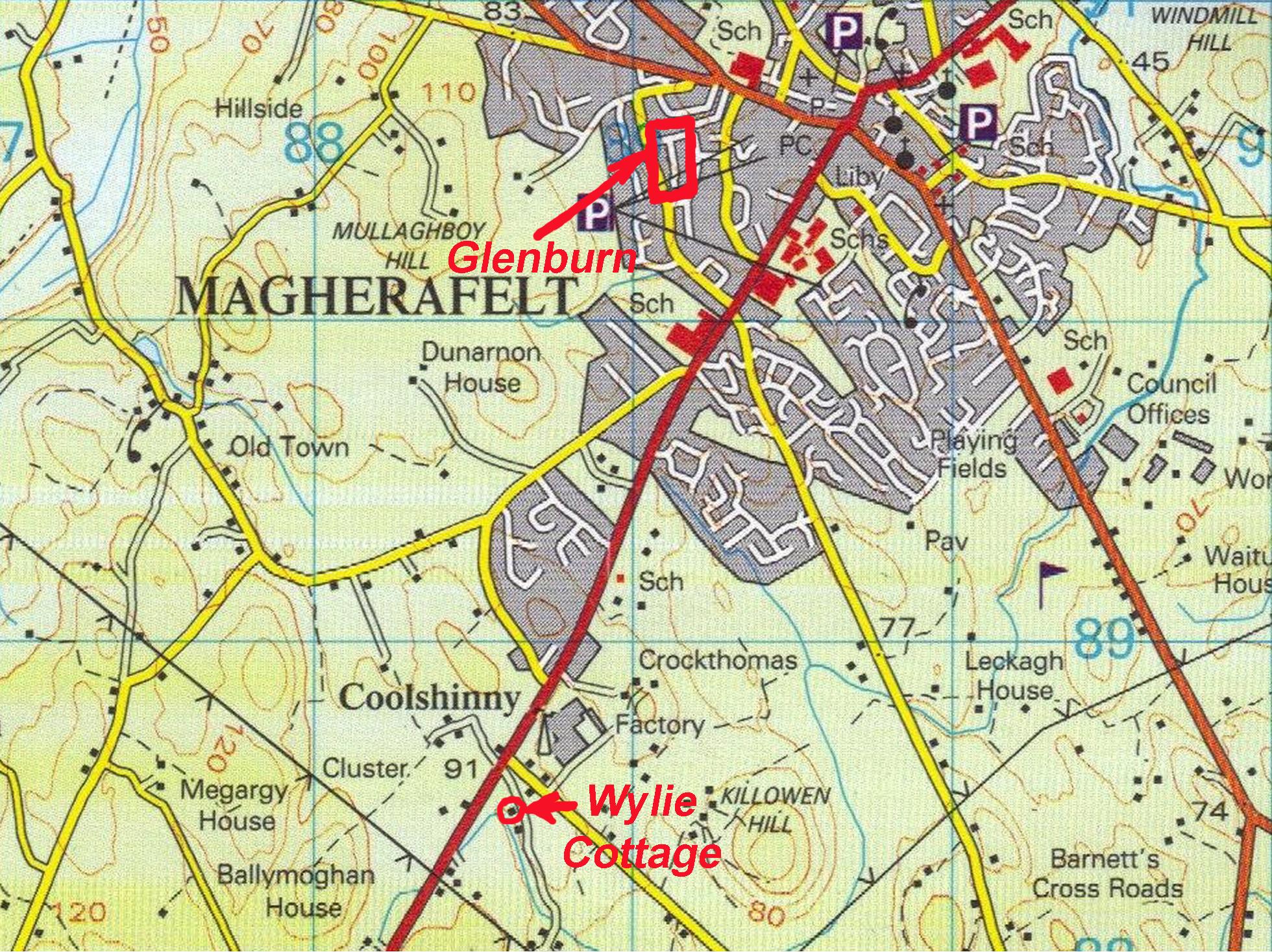 Map Ireland Co Derry Magherafelt Glenburn Wylie Cottage