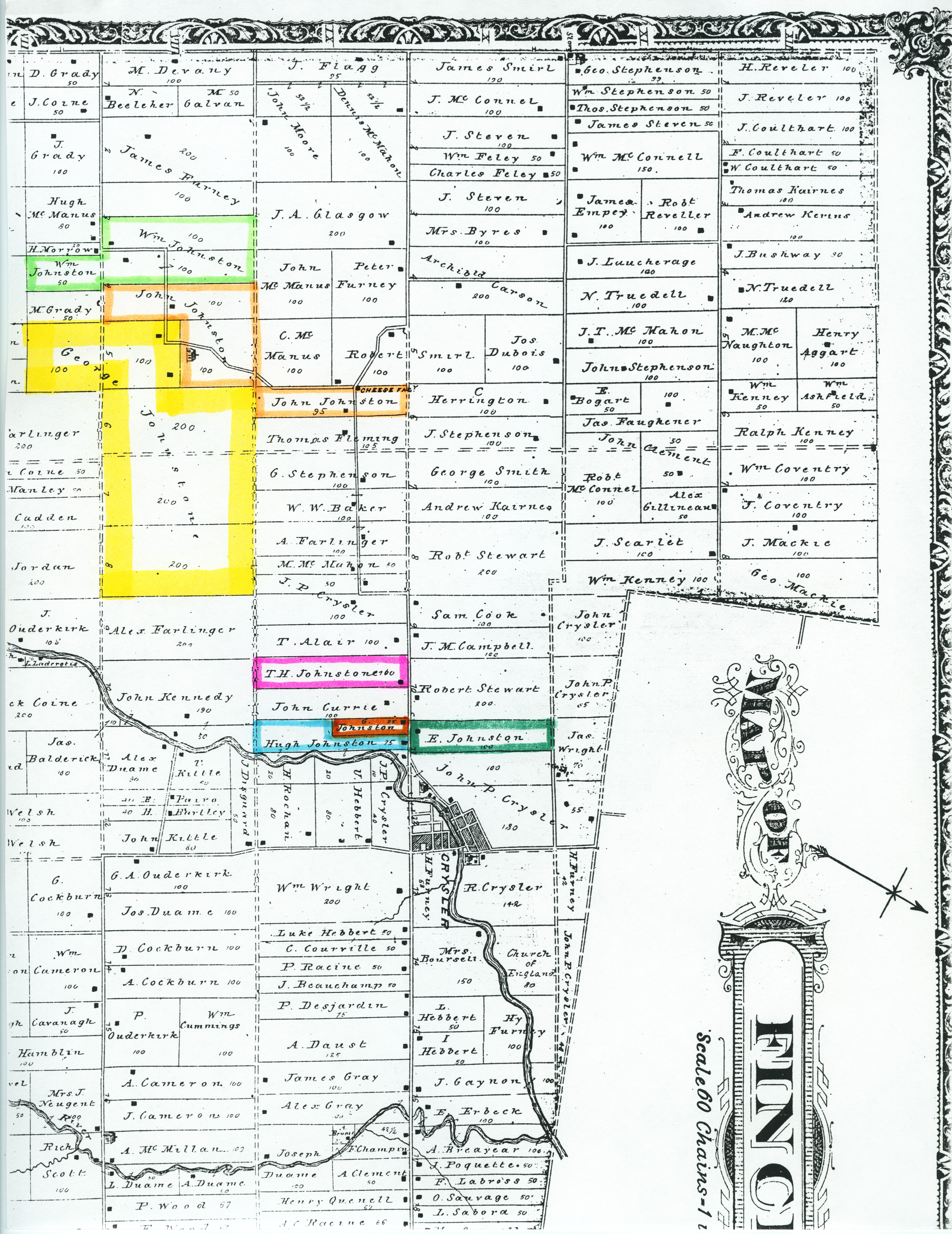 Map - Stormont County, Finch Twp., Crysler Area Johnston/e Farms