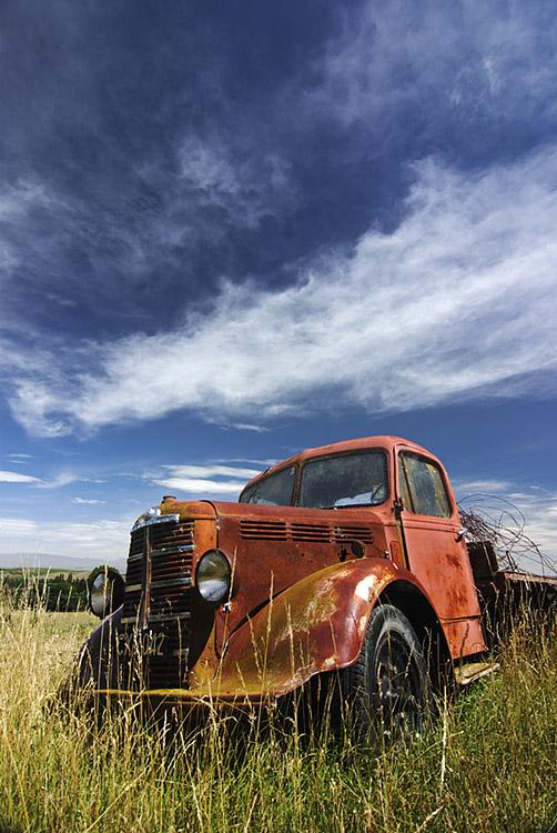 Direlect truck in field near Oamaru, Otago, New Zealand