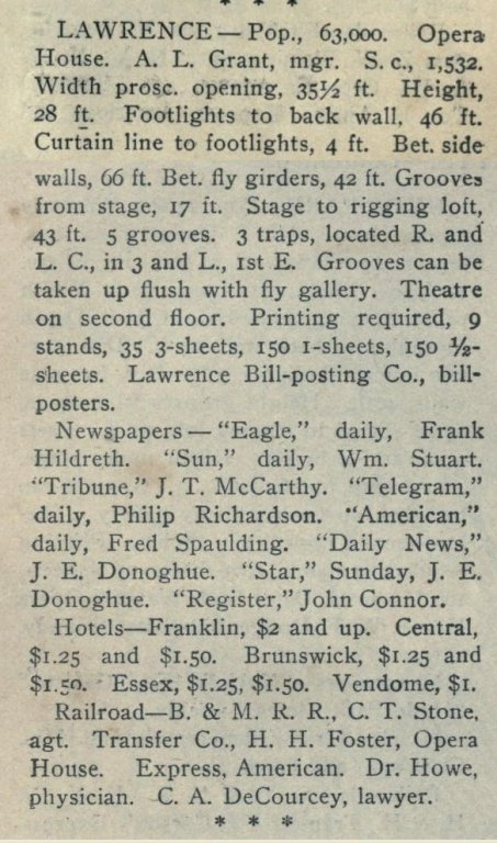 1901 Opera House entry in Cahns Guide
