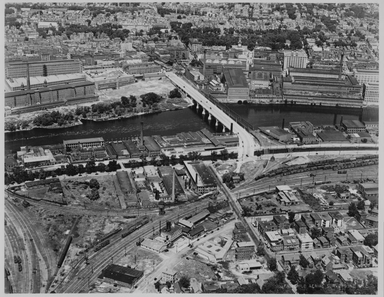 Aerial view of Central and B&L bridges