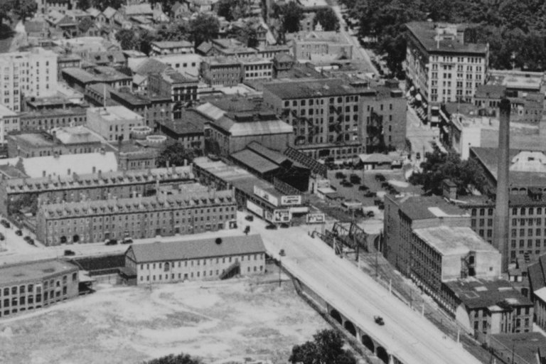 Aerial view of Railroad depot and Opera House