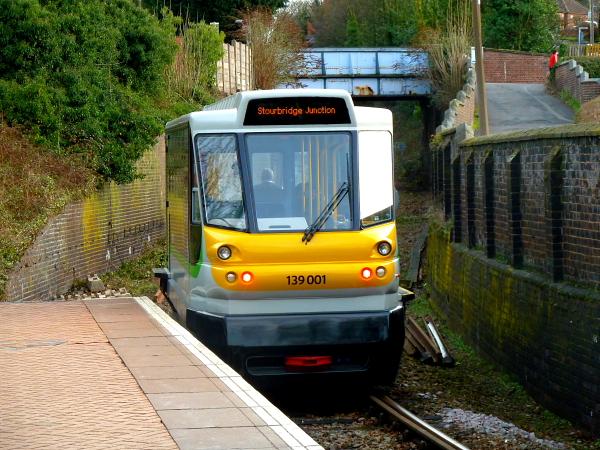 London Midland Class 139-001 leaving Stourbridge Town