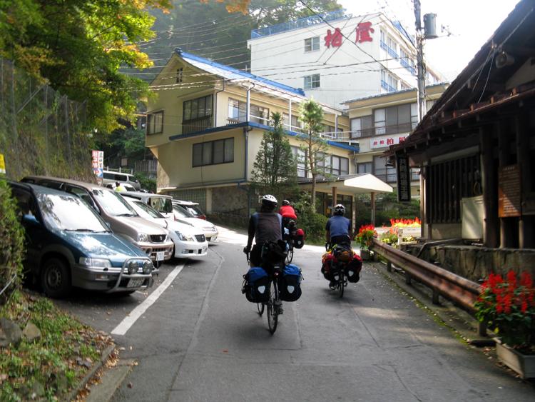 Narrow road through a mountain town.