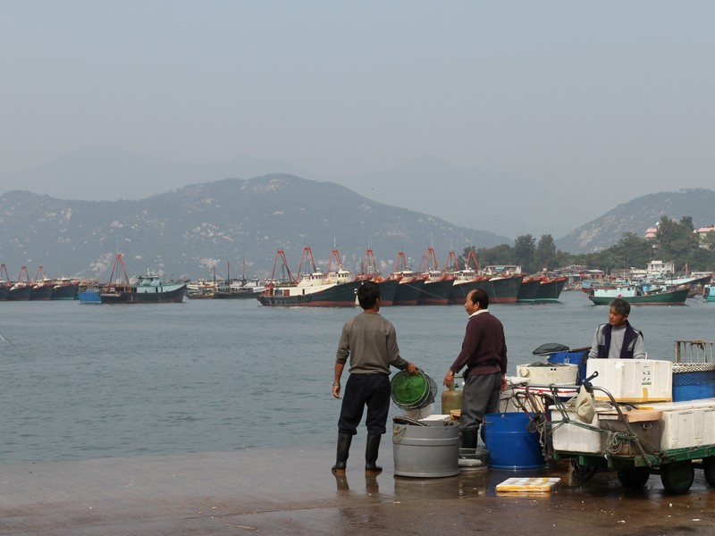 Fishermen unloadin