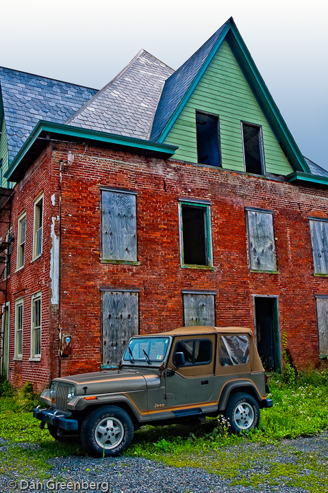 Abandoned Building and Jeep