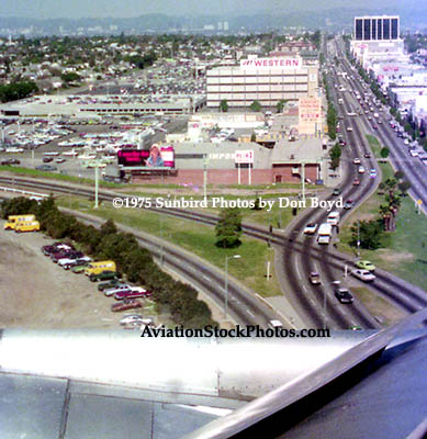 1975 - short final approach to LAX with S. Sepulveda Boulevard visible, long before the In-and-Out Burger was built