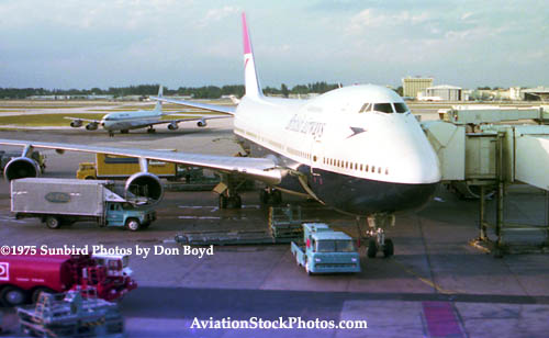 1975-1976 - a British Airways B747 parked on MIAs only widebody international jetbridge gate, gate 53 (later E-9), at the time