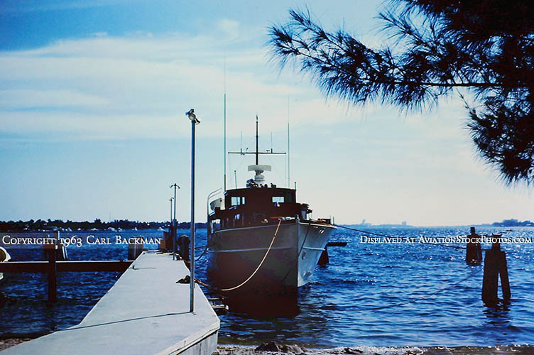 1963 - President Kennedys presidential yacht HONEY FITZ moored at the new concrete docks at USCG Station Lake Worth Inlet