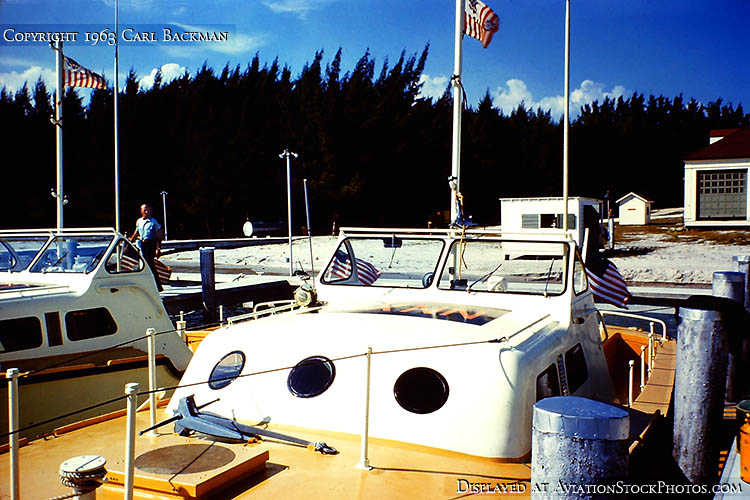 1963 - Coast Guard Presidential Security Detachment 40-ft chase boats at the new concrete docks at USCG Station Lake Worth Inlet