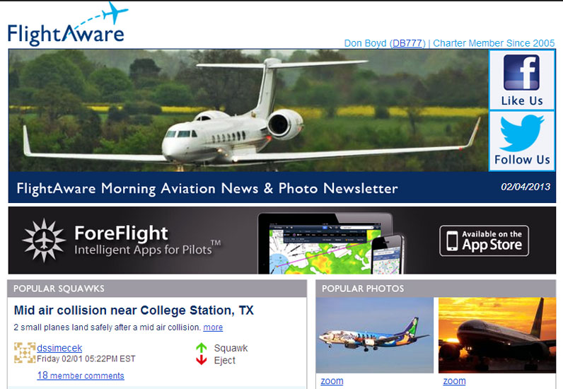 2013 - American B777 landing photo (bottom right) on FlightAwares Morning Aviation Newsletter