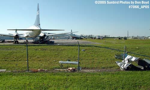 Hurricane Wilma damage at Opa-locka Airport, T-hangar ramp area after Hurricane Wilma aviation stock photo #7066