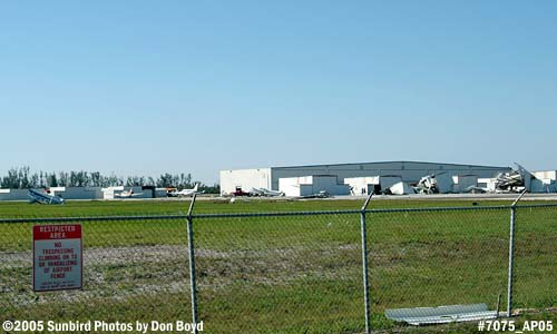 Hurricane Wilma damages in the t-hangar area at Opa-locka Airport stock photo #7075