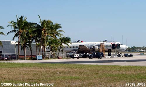 Good news, Legendary Airliners DC-7B N836D survived Hurricane Wilma stock photo #7078