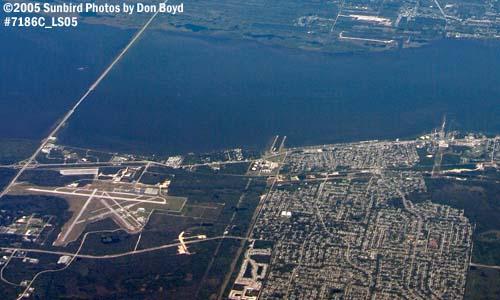 2005 - Titusville and Titusville Airport (bottom) and Merritt Island (top) aerial stock photos #7186C