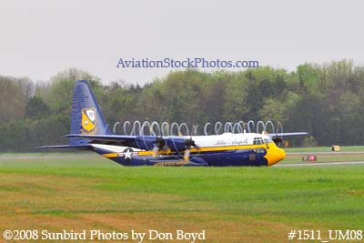 USMC Blue Angels Fat Albert C-130T #164763 at the Great Tennessee Air Show practice show at Smyrna aviation stock photo #1511